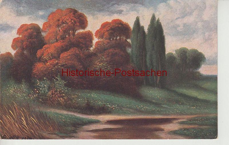 (108013) Künstler AK Witt, Herbstlandschaft, vor 1945
