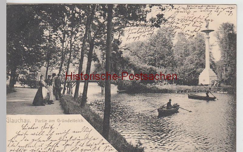 (108366) AK Glauchau, Sachsen, Gründelteich, Insel, Hedrich Säule 1904