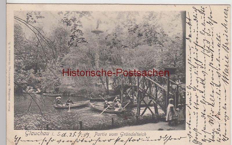 (108375) AK Glauchau, Sachsen, Gründelteich, Insel, Hedrich Säule, Brücke 1903