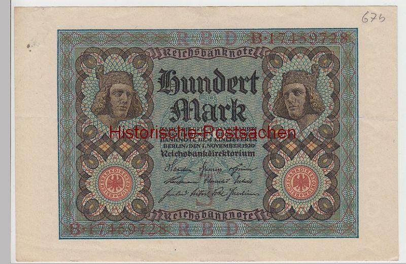 (D1022+) Geldschein Reichsbanknote, 100 Mark 1920