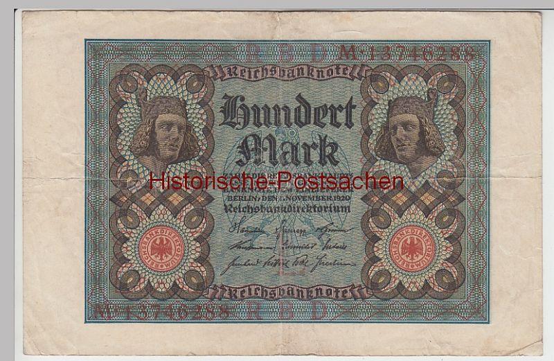 (D1054+) Geldschein Reichsbanknote, 100 Mark 1920