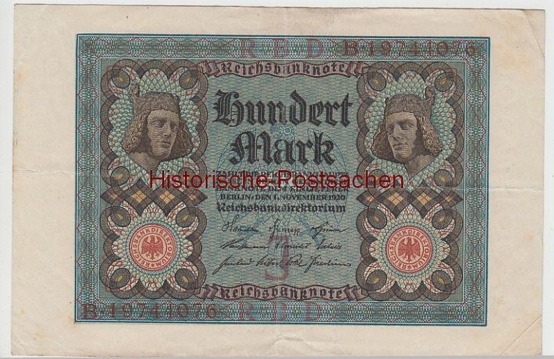 (D1081+) Geldschein Reichsbanknote, 100 Mark 1920