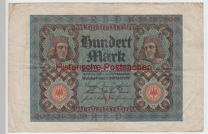 (D1111+) Geldschein Reichsbanknote, 100 Mark 1920