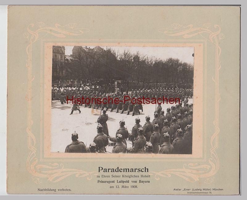 (F12480+) Orig. Foto München, Parademarsch zu Ehren Prinzregend Luitpold 1908