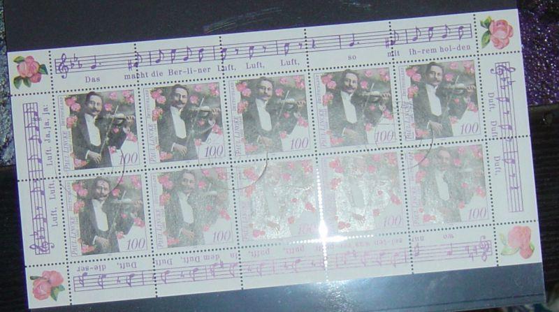 Bund Kleinbogen gestempelt Michel Nr. 1876 aus dem Jahr 1996. Katalogpreis Michel 2010/2011 12,- Euro