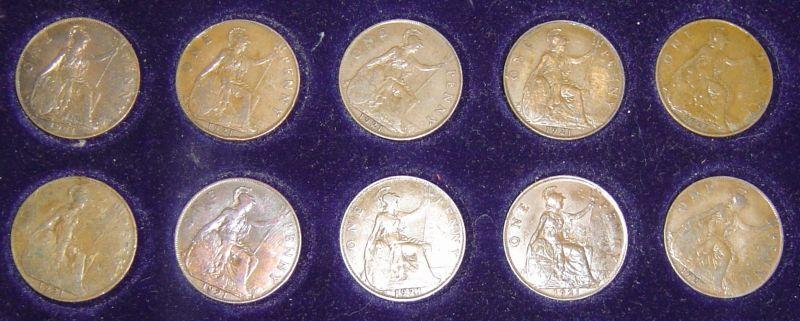 10 Stück 1 Penny Münzen alle 1921