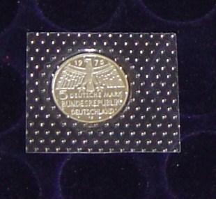 5,- DM Gedenkmünze zum Europäischen Denkmalschutz 1975 625 er Silber Polierte Platte