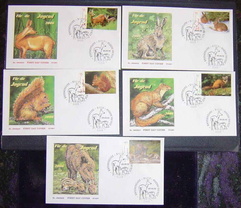 5 Erstagsbriefe Bund 2006 Jugend heimische Tiere Michel Nr. 2539-2543