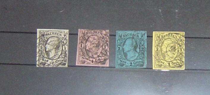 Altdeutschland Sachsen Michel Nr. 8-11 Jahr 1855/1856 Michel Wert 2010-2011 45,-Euro gestempelt