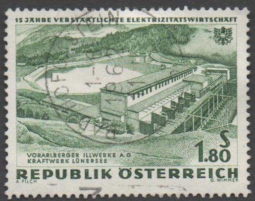 1962 Österreich MiNr. 1105 gestempelt 1,80 Schilling 15 Jahre Verstaatlichte Elektrizitätswirtschaft