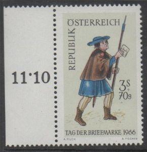 1966 Österreich MiNr. 1229 Postfrisch mit linken Rand 300+70 Groschen Tag der Briefmarke