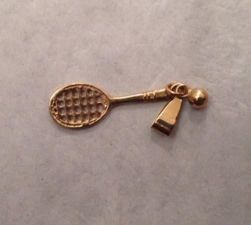 585 Gold Anhänger Tennisschläger mit Ball 3 cm 12518