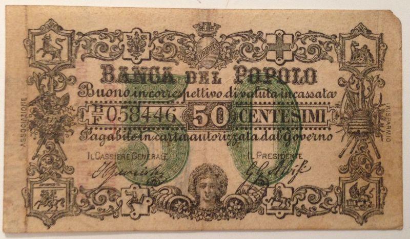 Banca del Popolo 50 Centesimi 1868 Firenze Florenz   12069