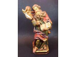 Heiliger Matthäus mit Engel Holz geschnitzt ca. 29 cm 12610