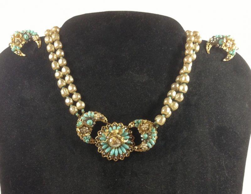 Jugendstil Art Deco Art Noveau Set Halskette + Ohrringe Türkis Perlen  11226