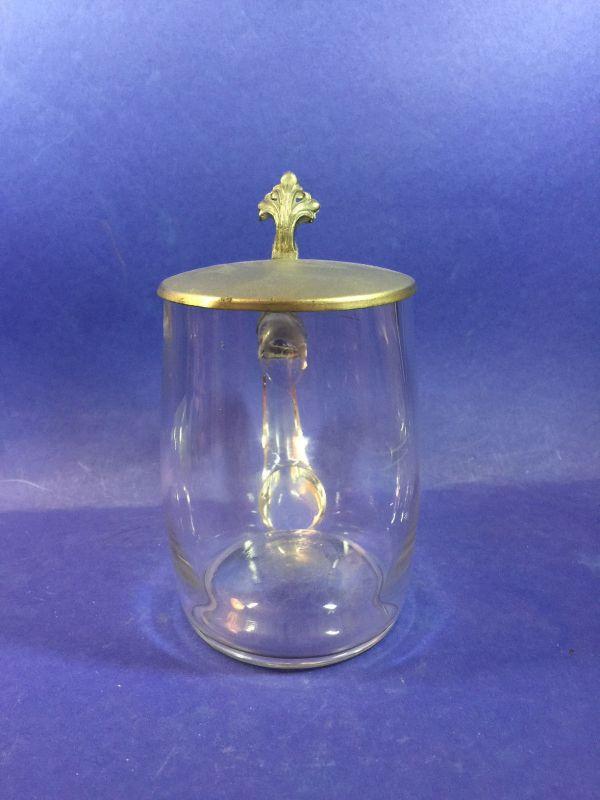 Bierkrug Glas mit Zinndeckel um 1900  17026