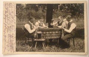 Feldpostkarte Kartenspieler übergroßes Bierglas  11169