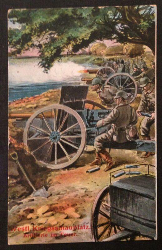 7Westl. Kriegsschauplatz Artillerie am Feuer  10998