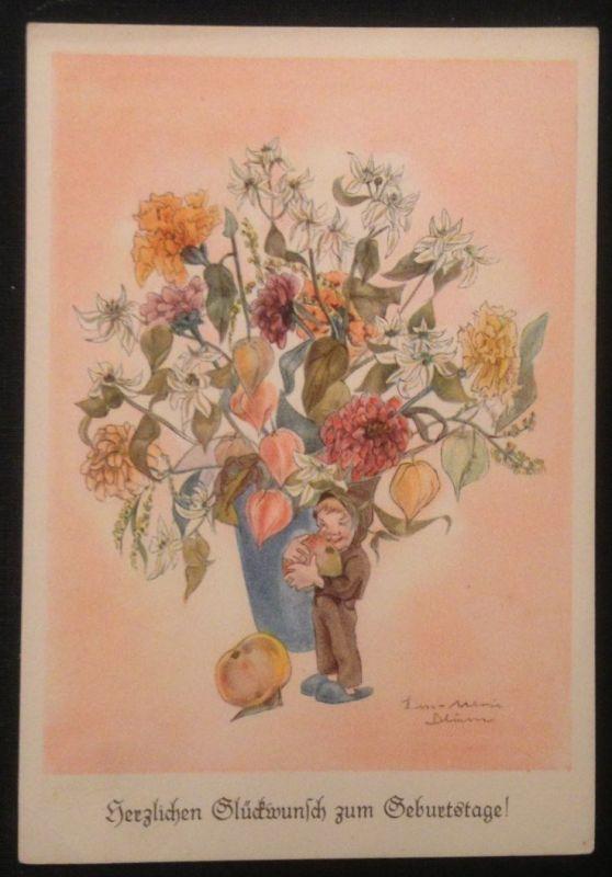 Geburtstag Künstlerkarte L. M. Blum Mädchen Blumen  Wichtelmännchen Zwerg 10950