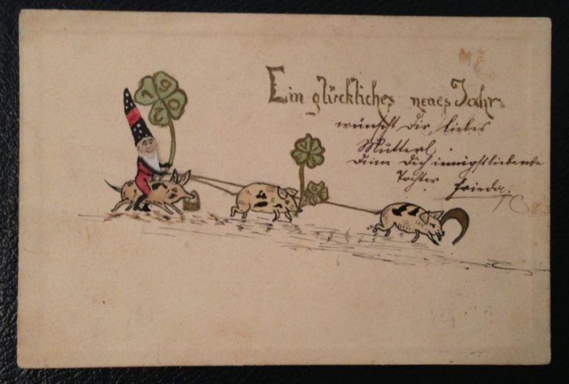 Neujahr Zwerge Schwein Kleeblatt handgezeichnet   10925