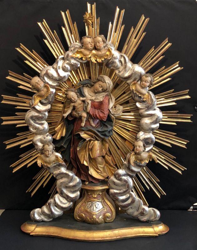 Altaraufsatz Madonna mit Kind und Engelsköpfen 90 x 85 cm