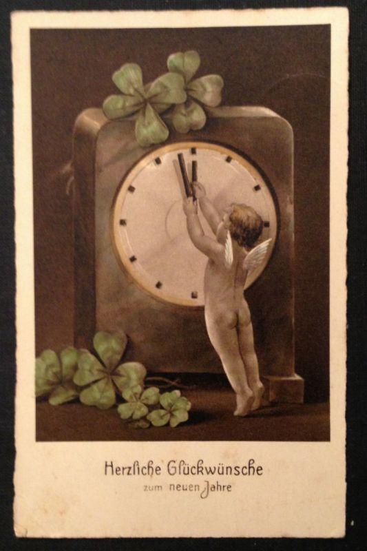 Neujahr Uhr engel Kleeblatt      11351