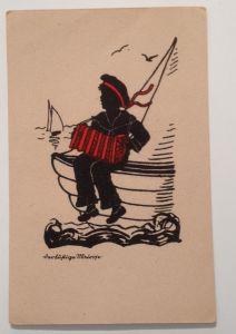 Künstlerkarte Der lustige Matrose Scherenschnitt 11633