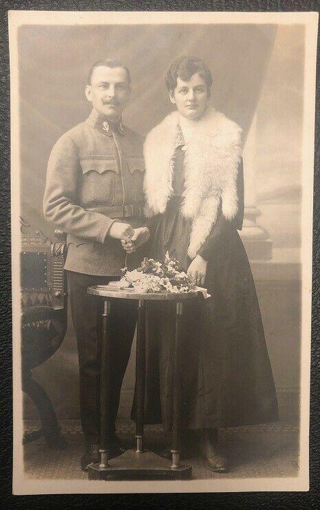 Soldat mit Edelweiss Abzeichen Photoanstalt Wilhelm Mann Salzburg 26121