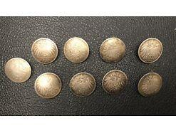9 X Silber Knöpfe Reichsmark