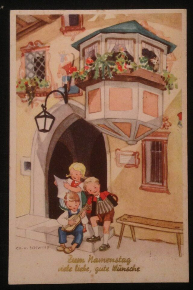 Namenstag Kinder Musik Künstlerkarte Ch. v. Schwind   10948 0