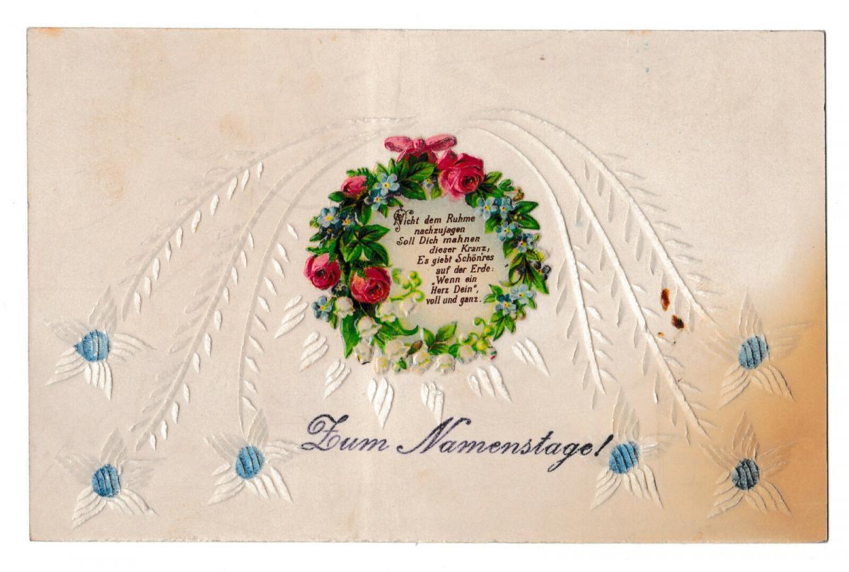 Namenstag Prägekarte Spruch  Rosen Blumen  10528