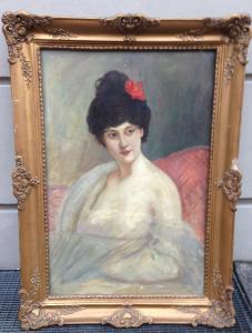 Bildnis einer Gräfin ( Mondsee?????  ) Öl auf Leinwand 77 x 107
