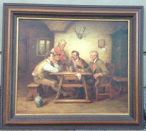 Curt A. Landwehr Bauernszene Öl auf Leinwand sign. 88 x 78,5
