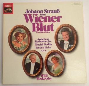Wiener Blut Gesamtaufnahme Willi Boskovsky 2 LP Box mit Heftbeilage Strauß, Joha