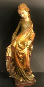 Heilige Katharina Alexandrien Blattgold Figur Holz geschnitzt 54 cm 30679