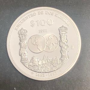 100 $ Mexico 1991 PP Encuentro de dos mundos 30720