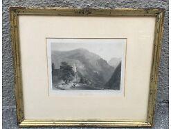 Eng Pass Lueg Tirol Stich  um 1850 42x35 gerahmt 15009 0