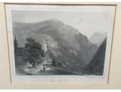 Eng Pass Lueg Tirol Stich  um 1850 42x35 gerahmt 15009 1