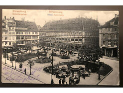 Strassburg Gutenbergplatz Pferdefuhrwerk Feldpost Stempel Lazarett 30763
