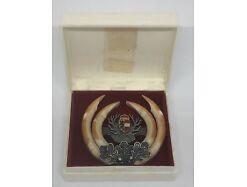 Trachten Brosche Horn Salzburg besch. ca. 5.5x5.5 cm vermutlich Einzelstück