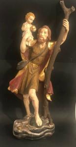65 cm  Heiliger Christophorus mit Kind Holz geschn. 2.H.20.J Blattgold