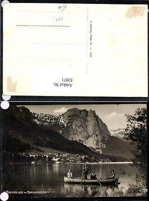Grundlsee mit Backenstein Bad Aussee Bootsfahrer Boot seltene Karte