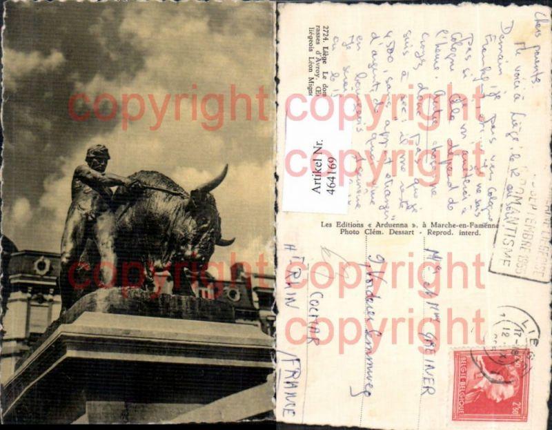Liege Statue Monument Le dompteur de taureaux aux terrasses d Avroy