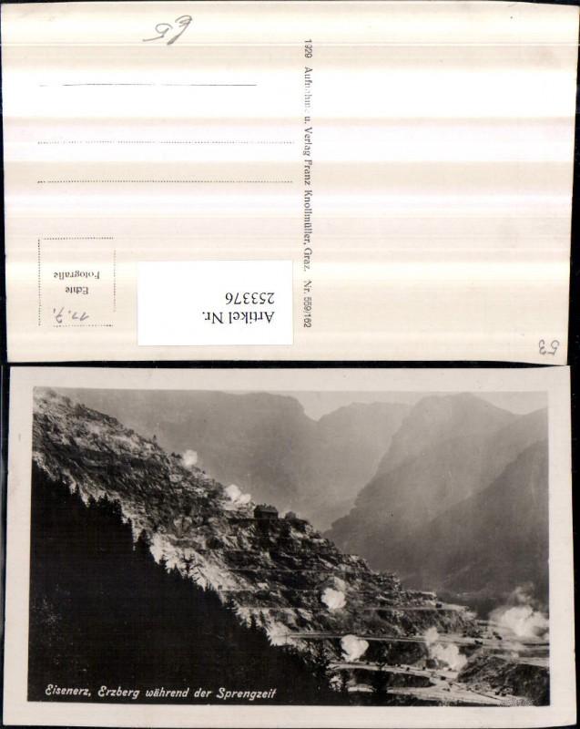 Eisenerz Erzberg während der Sprengzeit Bergkulisse