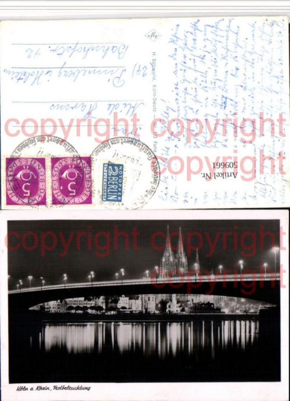 Köln am Rhein Teilansicht Dom Brücke Festbeleuchtung