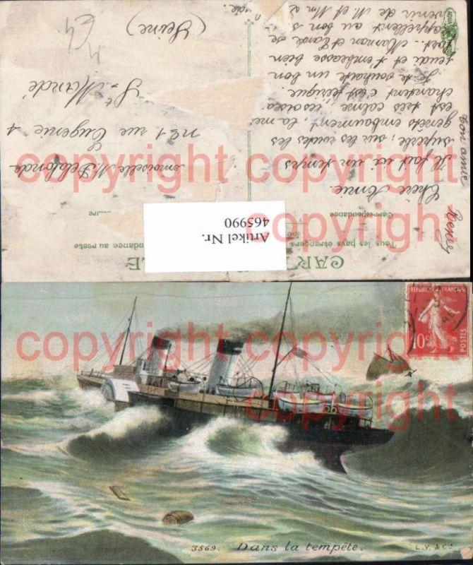 Hochseeschiff Schiff Dampfer Segelboot Dans la tempete Stürmische See