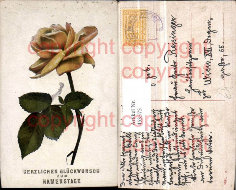 Künstler AK Namenstag Gelbe Rose