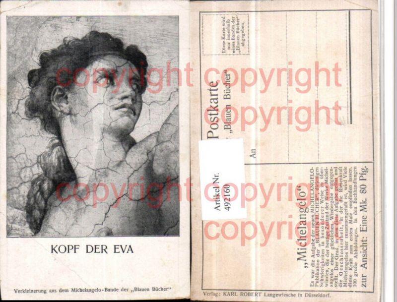 Künstler AK Michelangelo Blaue Bücher Kopf der Eva Portrait
