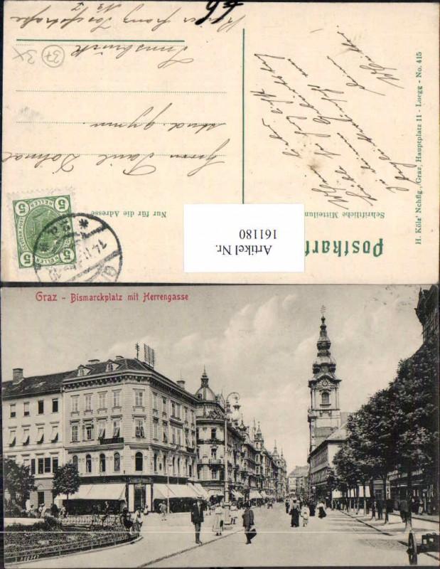 Graz Bismarckplatz Herrengasse Strassenansicht 1900