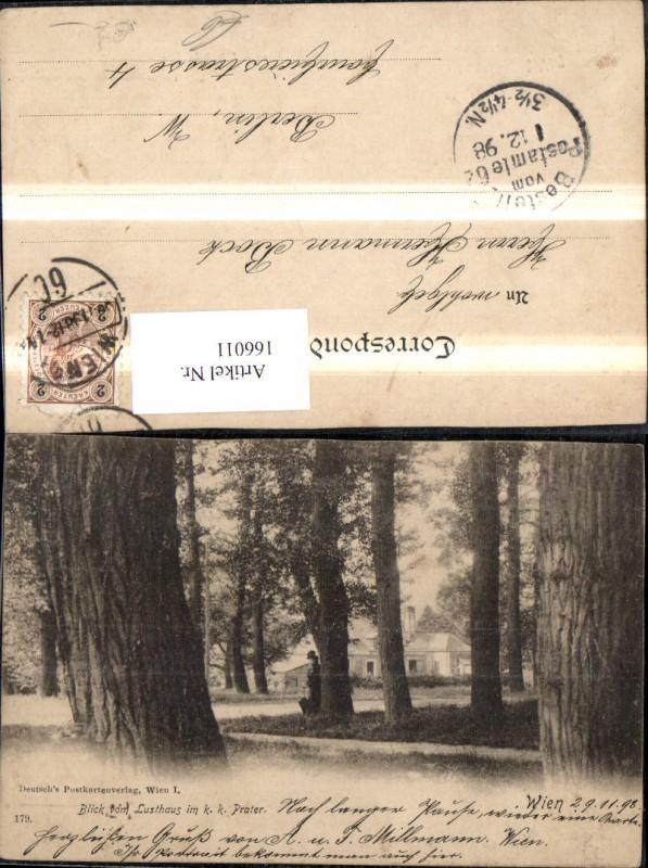 Wien 2 Leopoldstadt Blick v. Lusthaus i. K k Prater 1898 Ansicht m. Frau